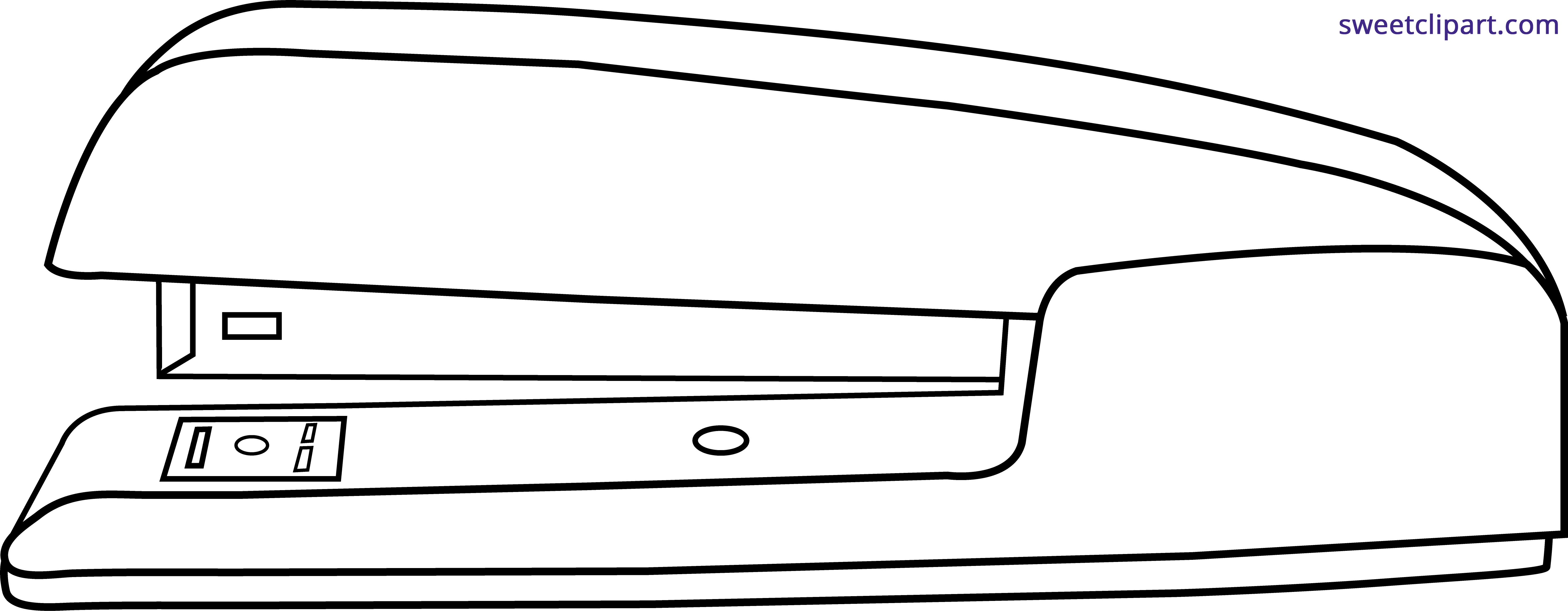Stapler drawing black and white. Simple lineart clipart sweet