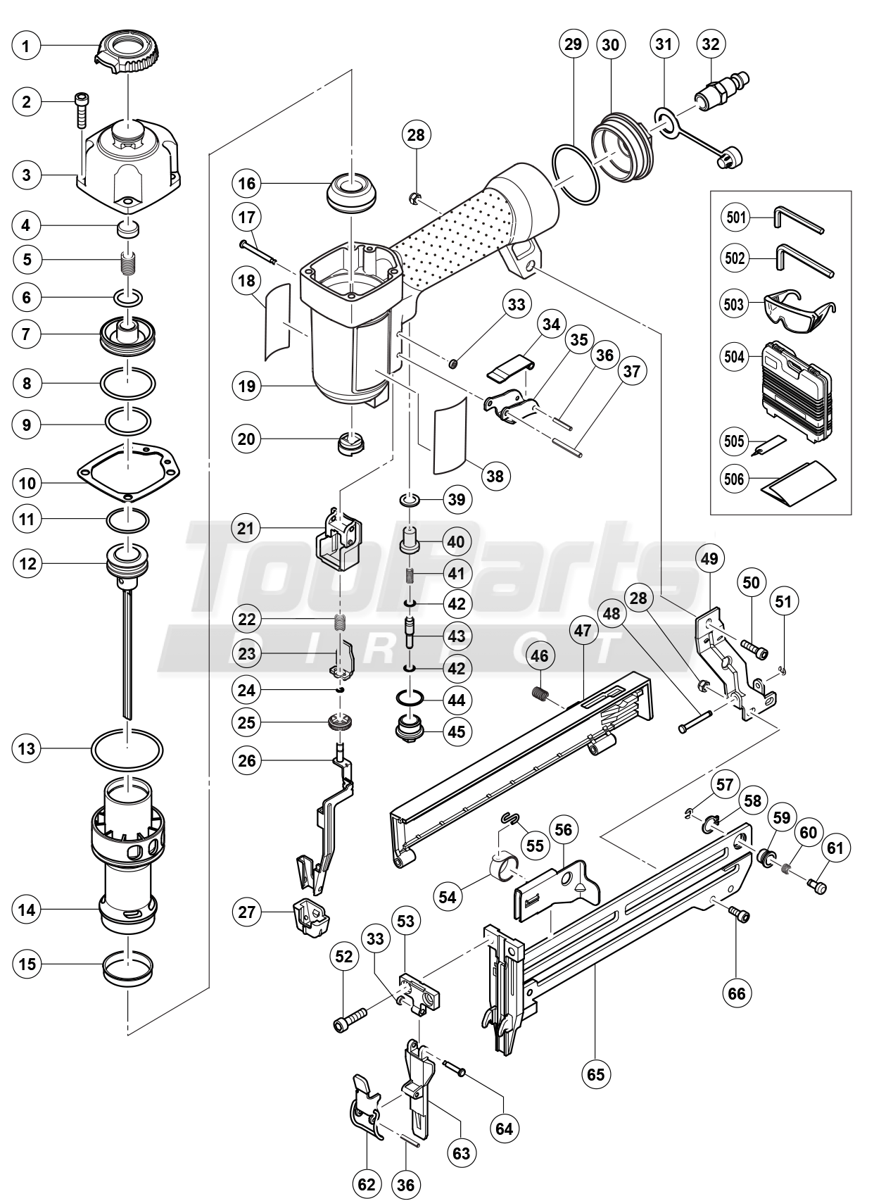 Stapler drawing components. Hitachi n ab in