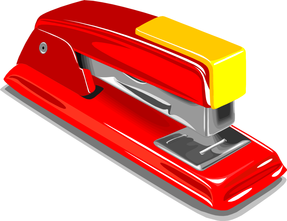 Office supplies paper clip. Stapler drawing realistic banner free download