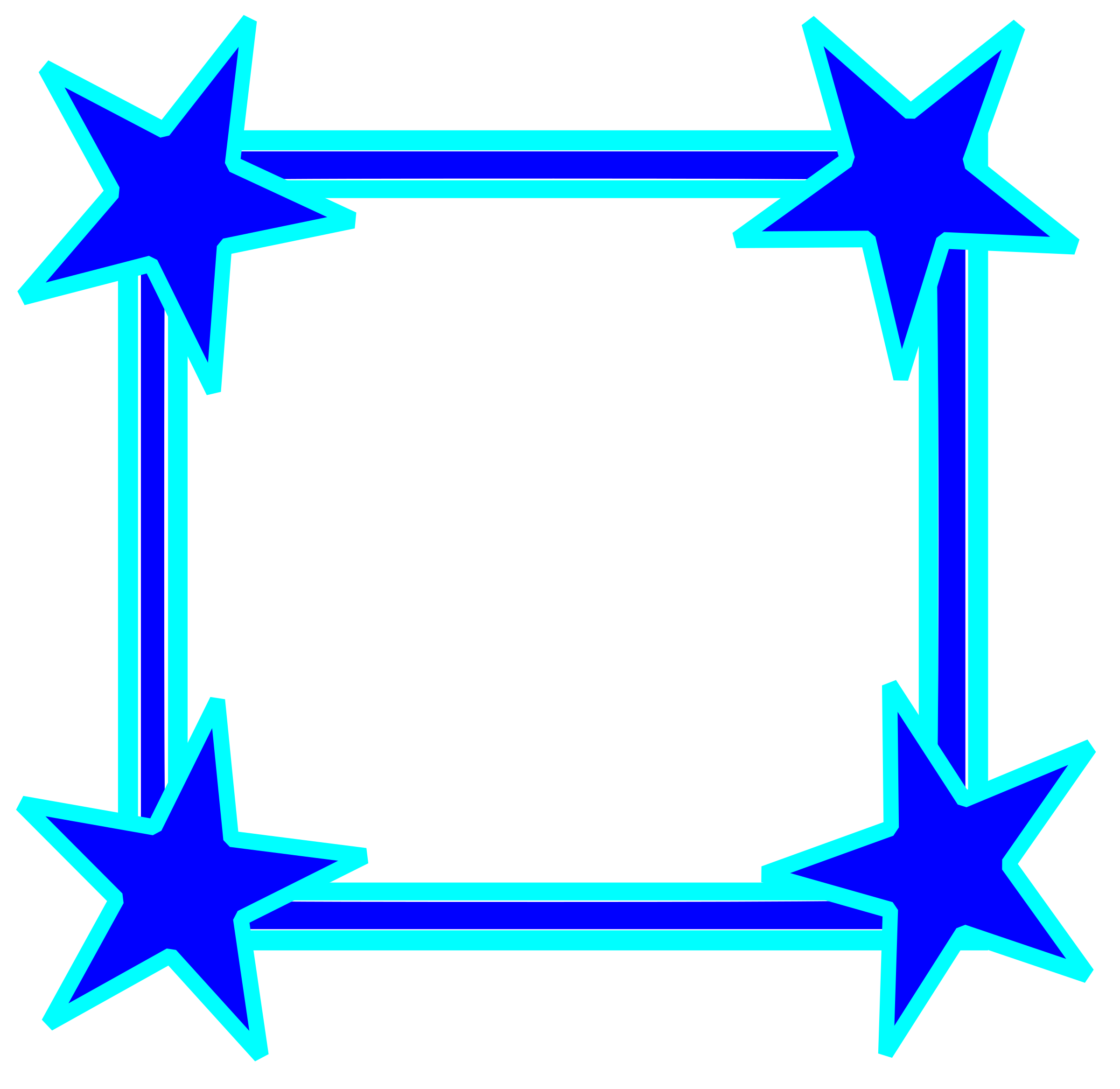 Star clipart picture frame. Simple bright blue cornered