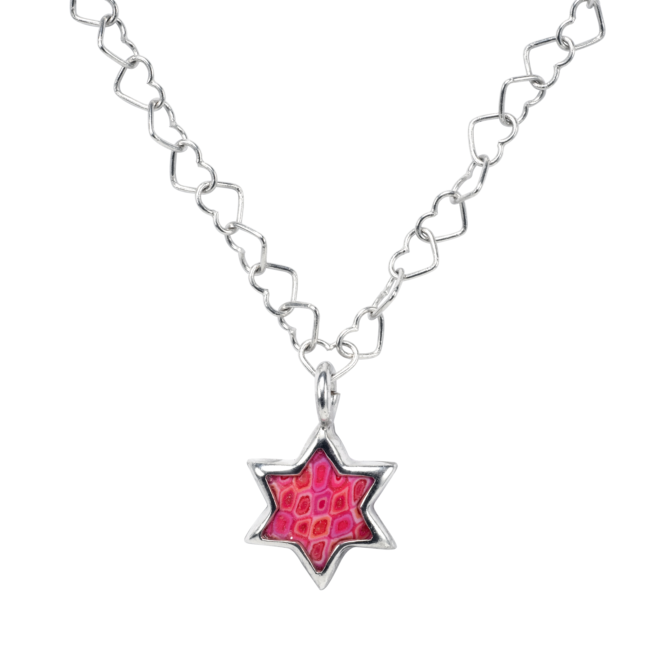 Star of david necklace png. Pink pendant with heart