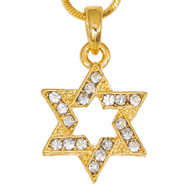 Star of david necklace png. Rhodium with crystals sparking
