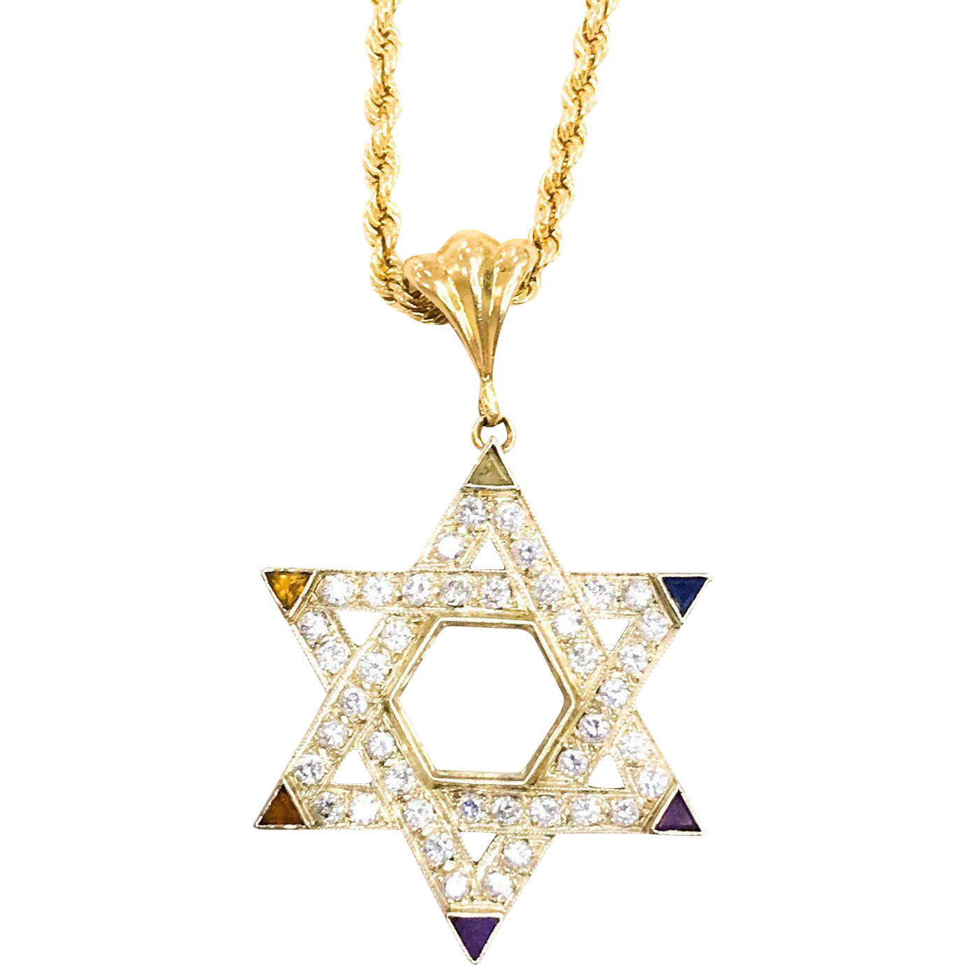 Star of david necklace png. Kt white yellow