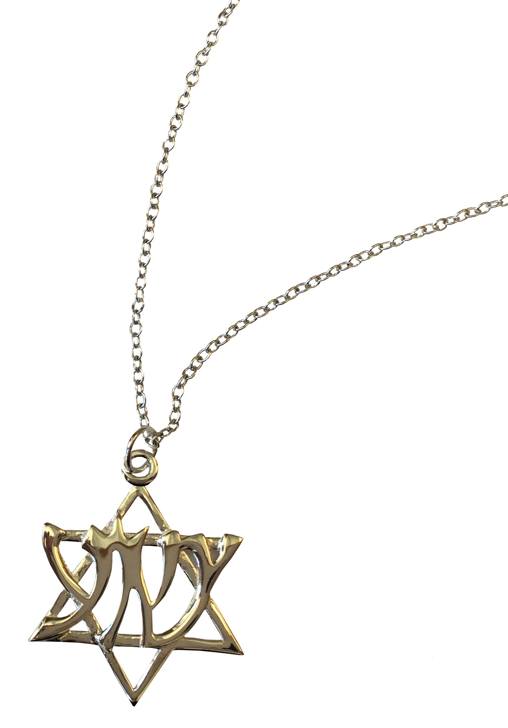 Star of david necklace png. With hebrew lettering jw