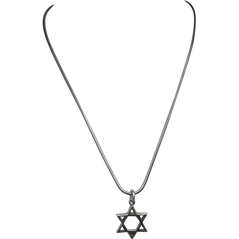Star of david necklace png. Magen sterling silver unsigned