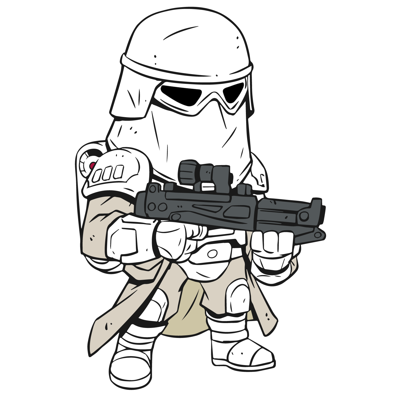 Shooting drawing clone trooper. Star wars cartoon at