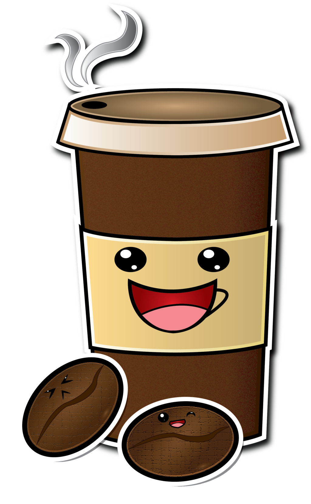Starbuck falling over animated png. Cute cartoon coffee cup