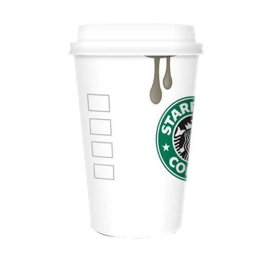 Starbucks coffee cup png. Original cafe icon white