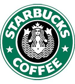 Starbucks vector flyer. Logo evolution of ten