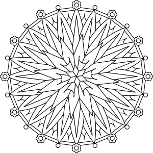 Starburst drawing coloring page. Flower mandala is a