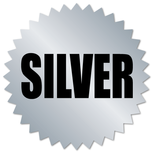 Starburst sticker png. Silver award labels stickers