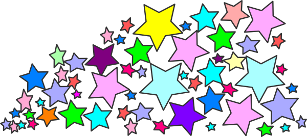 Start clipart colourful star. Colorful cluster