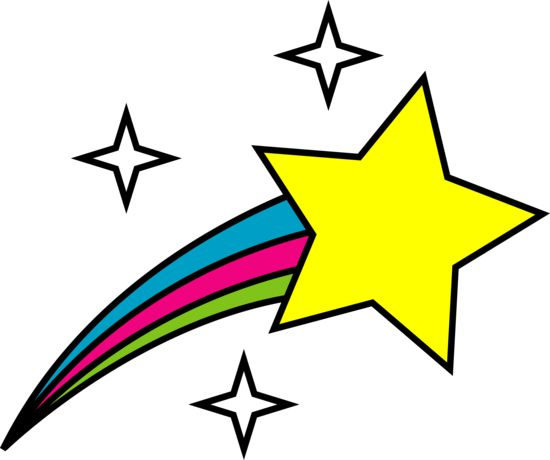 Start clipart colourful star. Colorful shooting stars panda