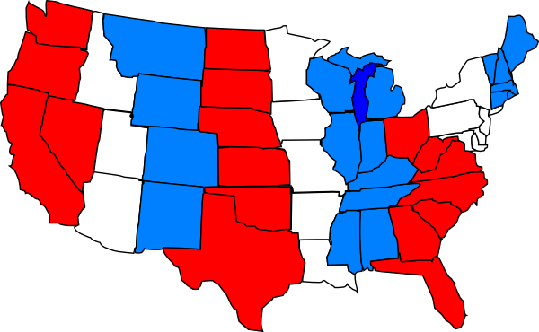 States vector blue. Red white usa map