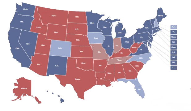 States vector colored. Data visualization us election