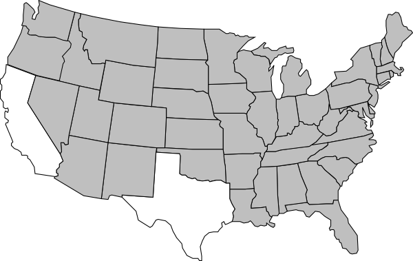 Us vector line. United states map clip