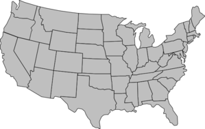 States vector map america outline. United of gray clip