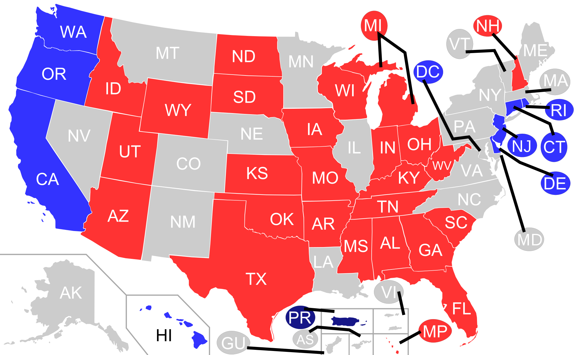 United States. File political control map