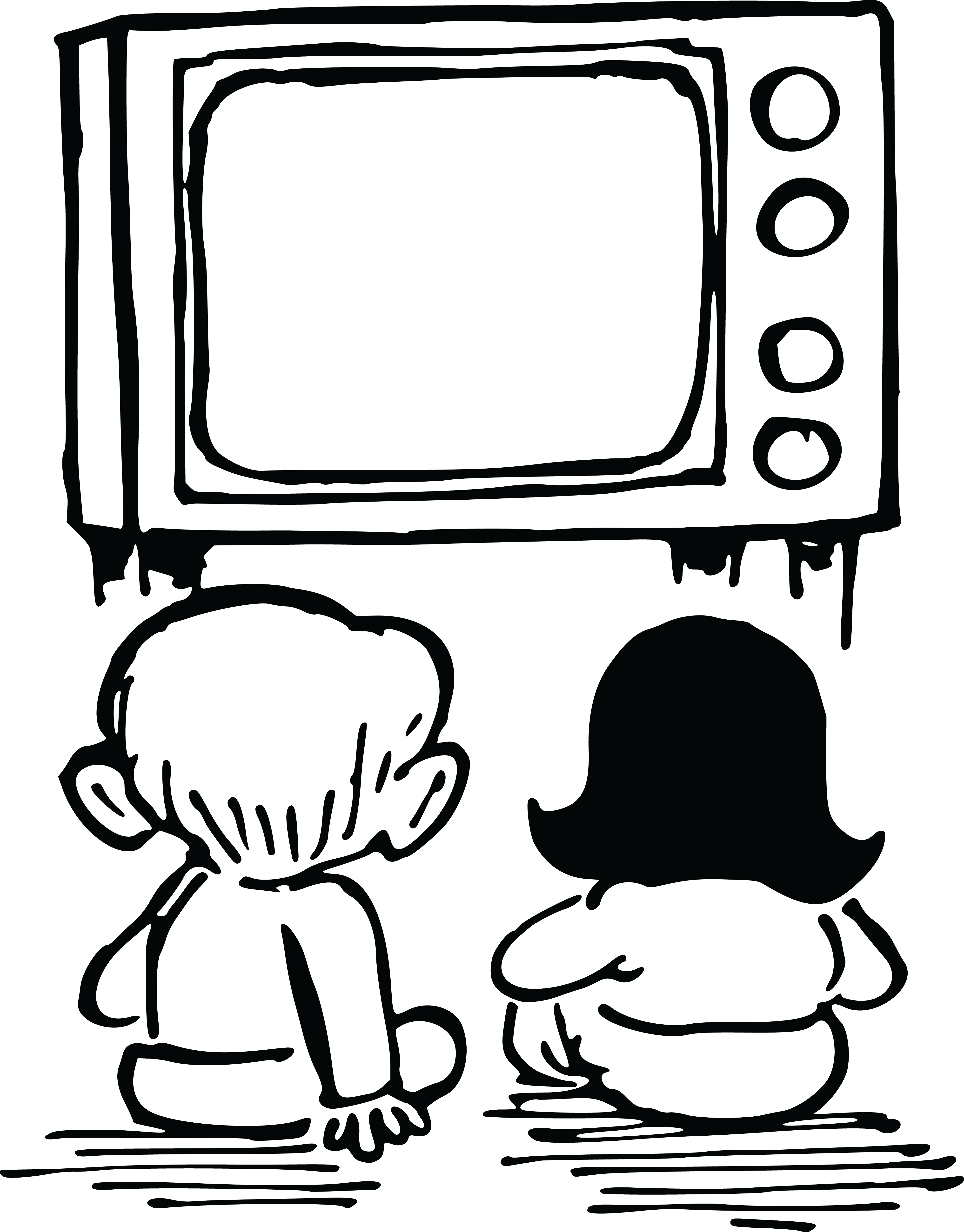 Static drawing black and white tv. Collection of clipart