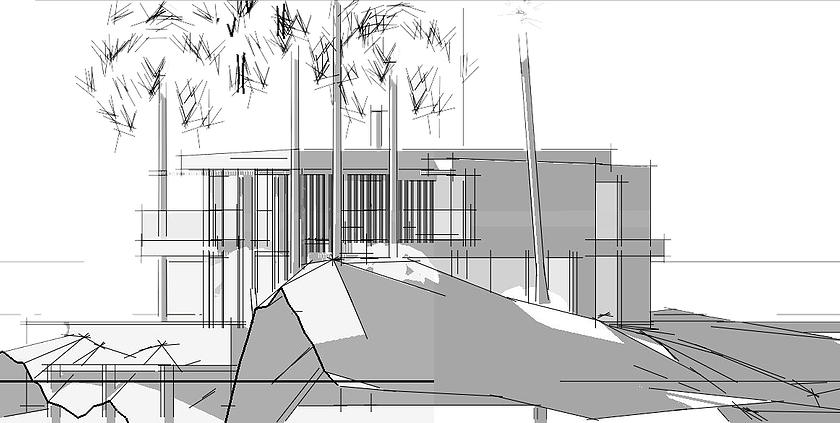 Static drawing cubist architecture. Home mid century contemporary