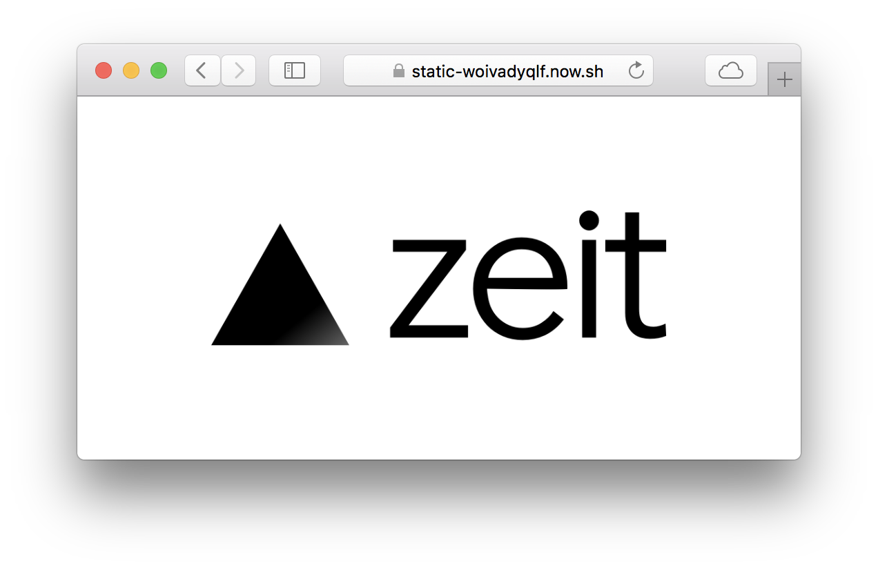 Static png. Zeit hosting using now