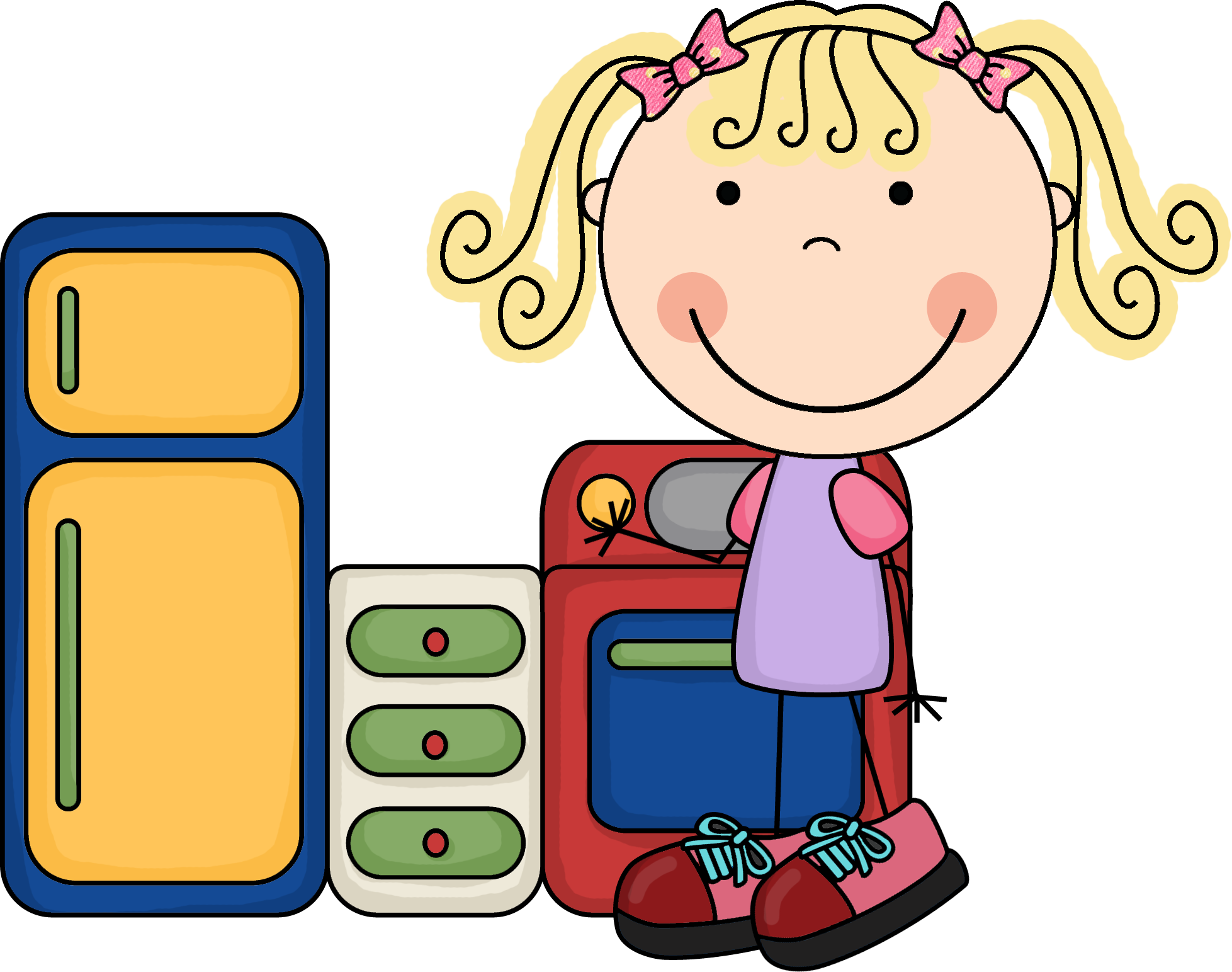 Kindergarten stations . Housekeeping clipart image