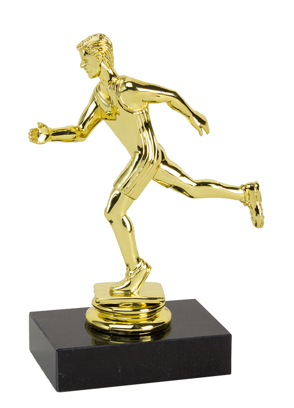 Statue award png. Running trophies male participation
