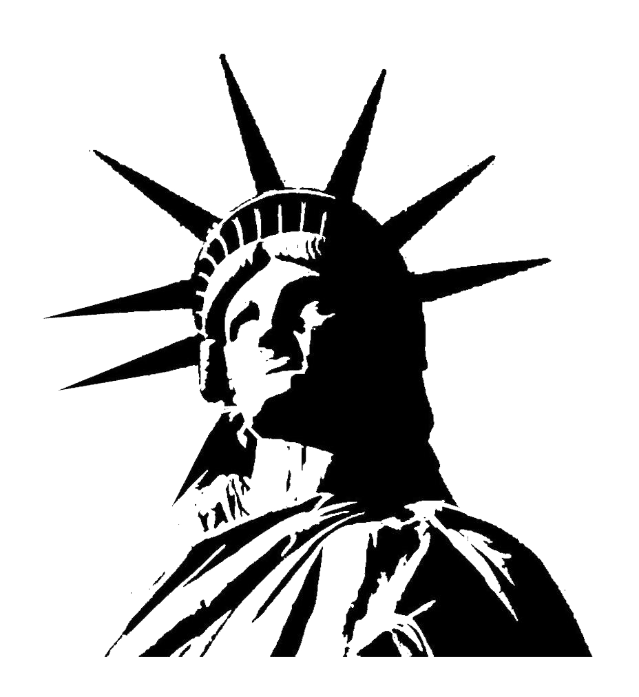 Statue of liberty black and white png. Free download mart