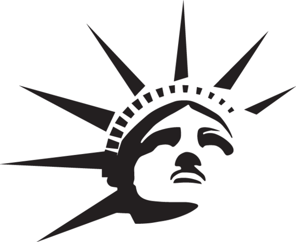 Statue of liberty black and white png. Ga head crown