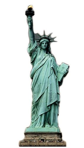 Statue of liberty clipart cardboard. Lifesize cutout cm over
