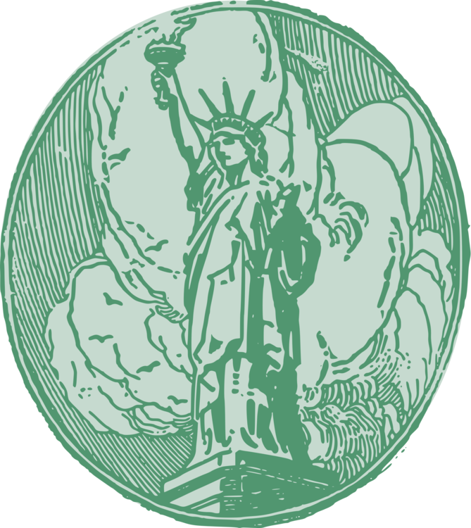 Liberty drawing logo. Statue of sculpture monument
