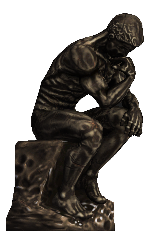 Thinking man statue png. Image the thinker bioshock