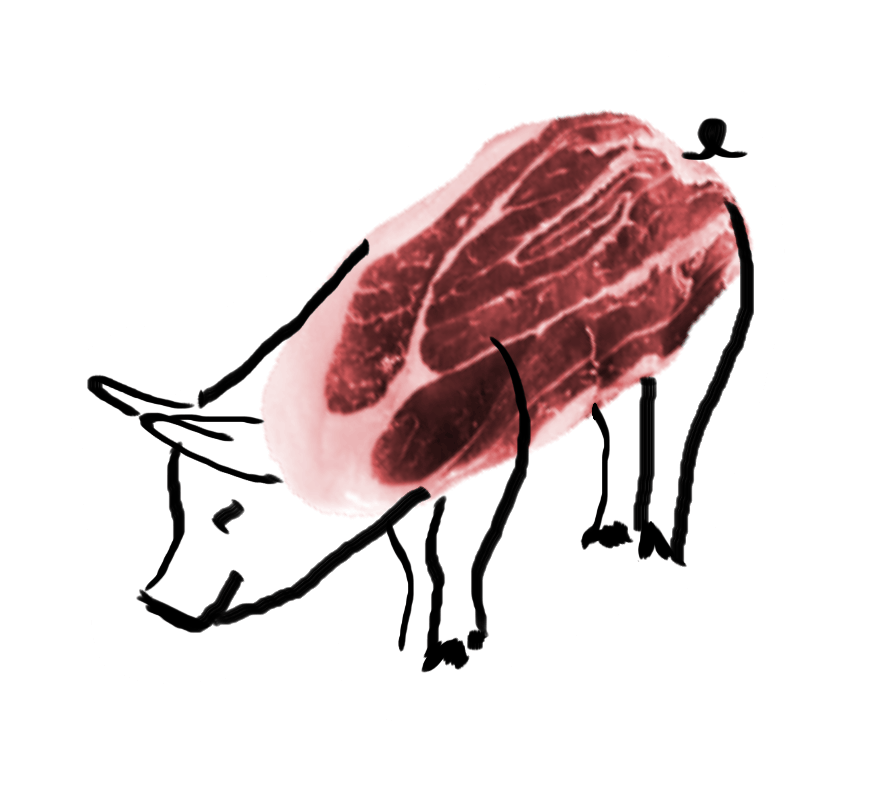 Mouth watering flavor is. Pork drawing red meat clip black and white download