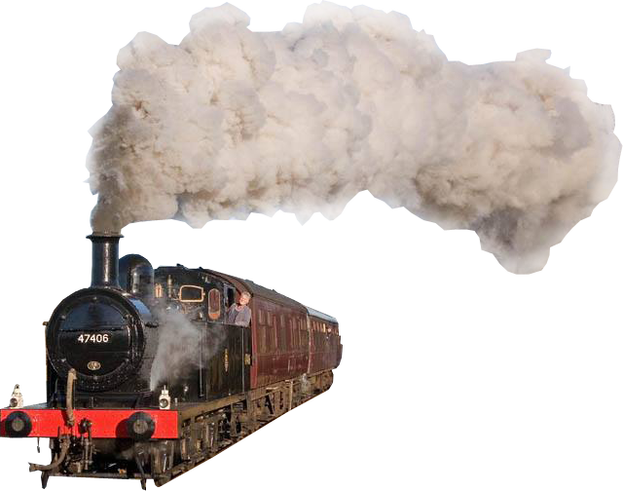 Transparent train steam engine. Png image