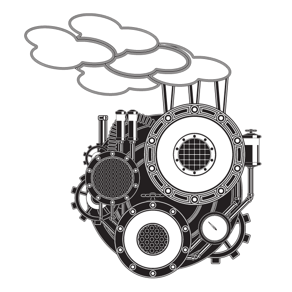 Steam vector png. Bw machine by illustratorg