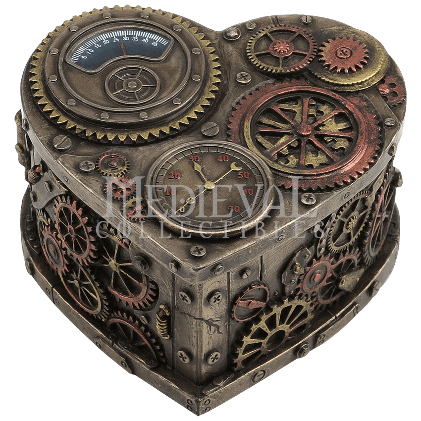 Steampunk heart png. Shaped trinket box wu