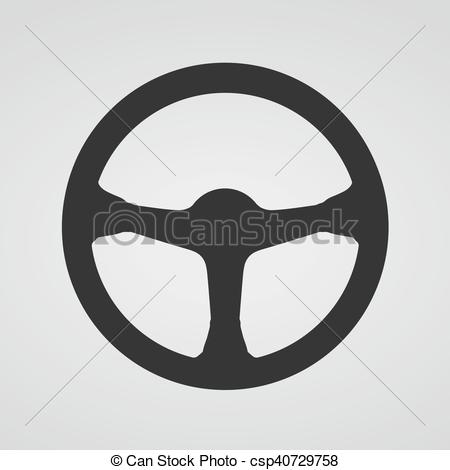 Wheel icon vector illustration. Steering clipart jpg black and white library