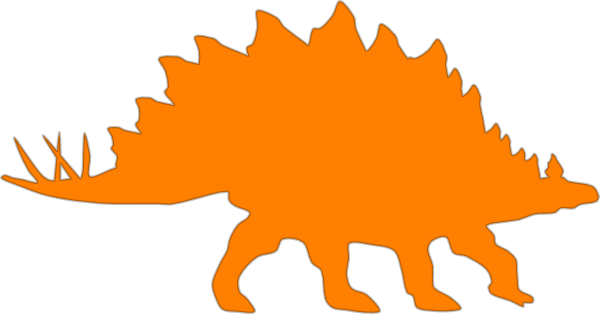 Stegosaurus vector outline. Orange clip art online