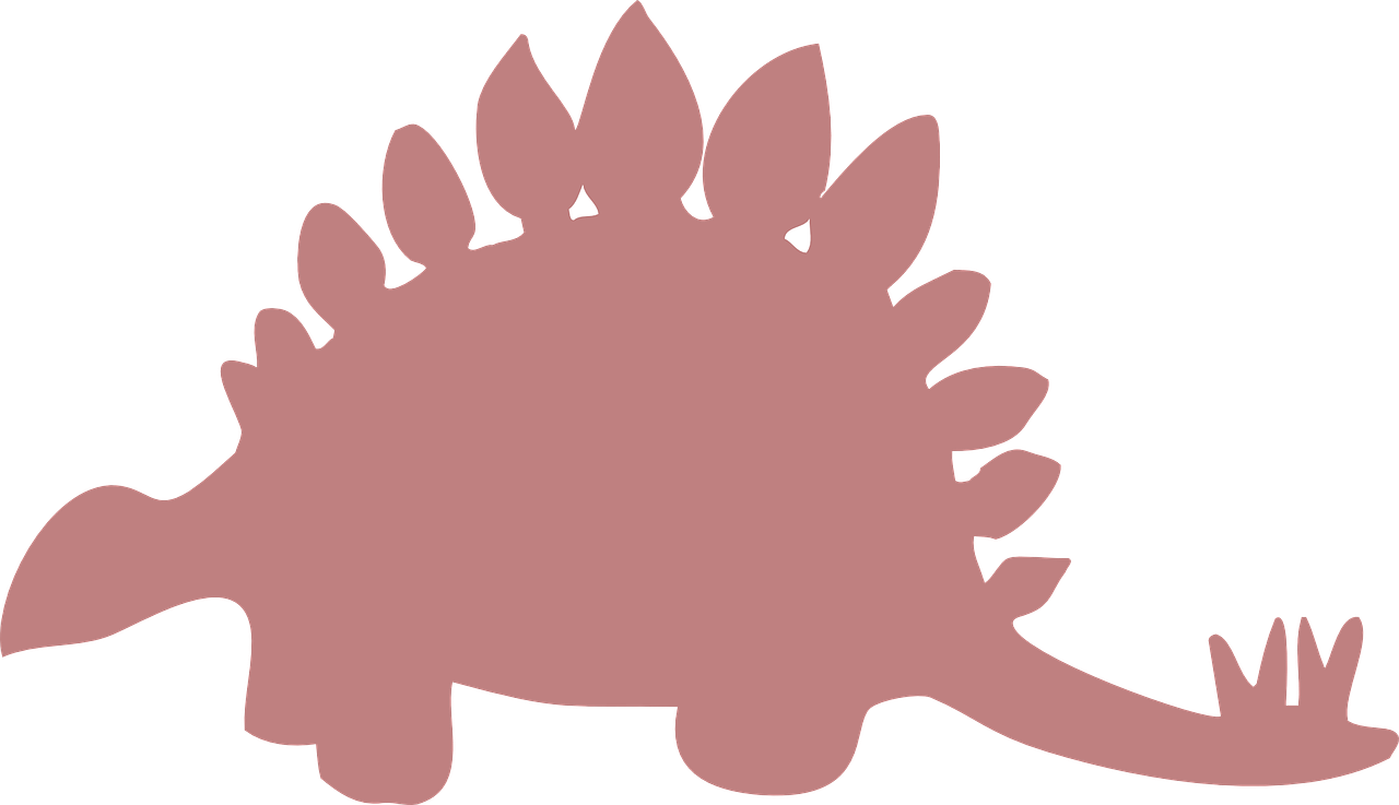 Stegosaurus vector dinosaur silhouette. Pink ancient spikes free