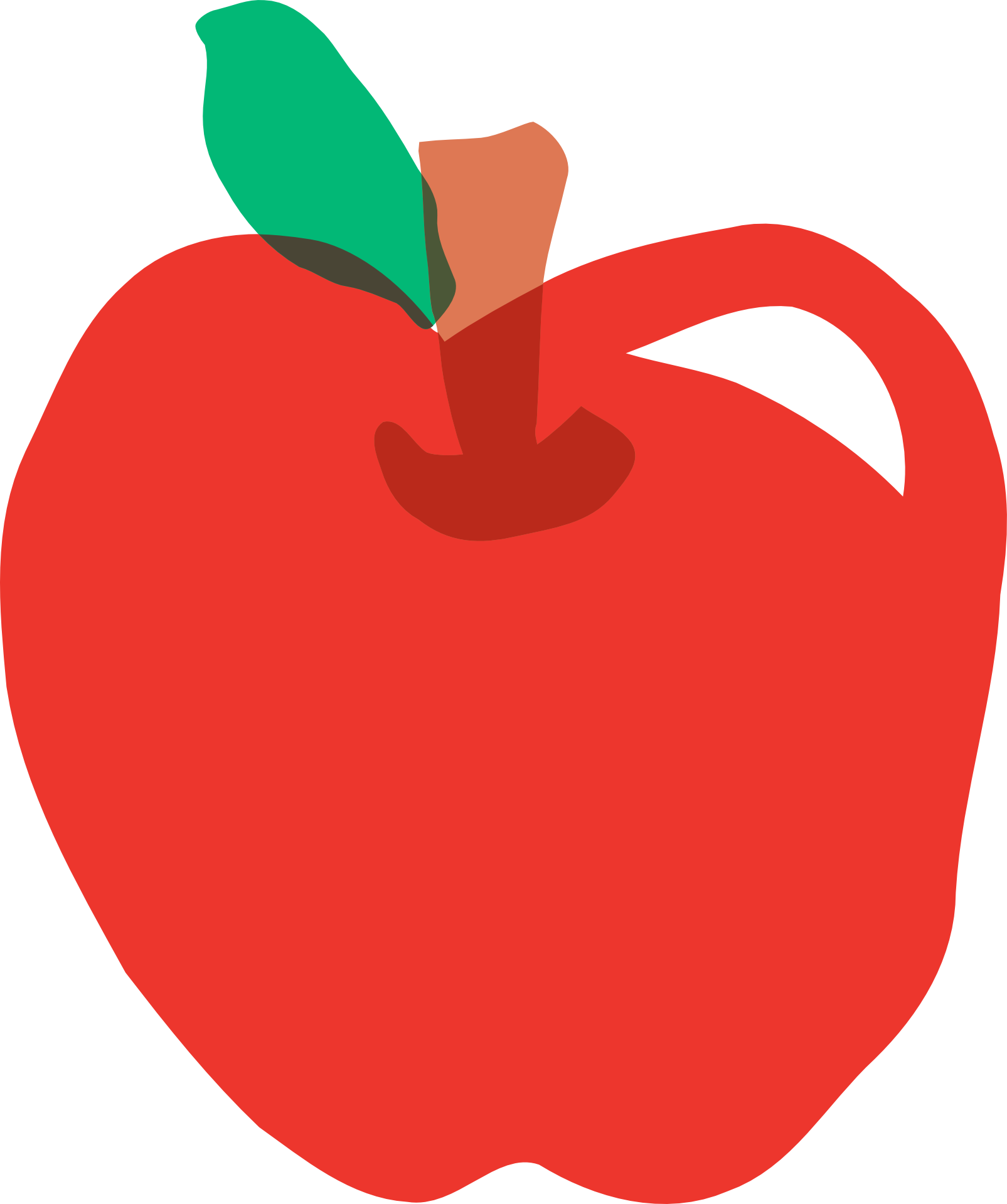 Drawing apple red. Of with stem and