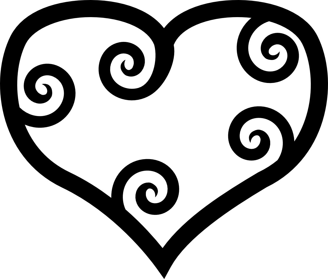Stencil svg fancy heart. Red outline image