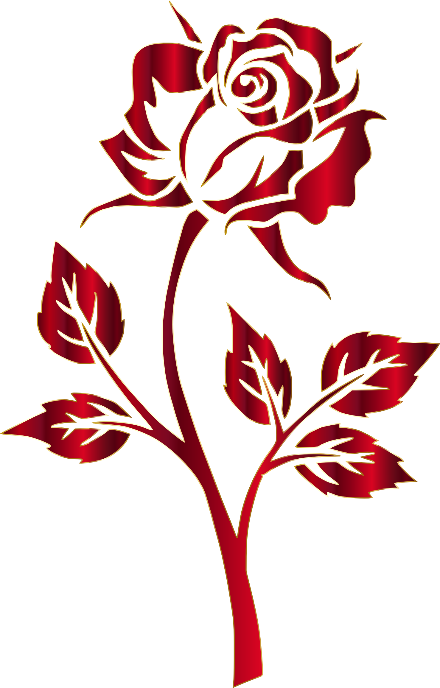 Stencil svg rose. Crimson silhouette no background