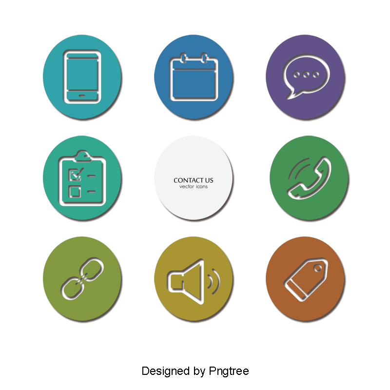 Vector contact psd. Color blocks round icons