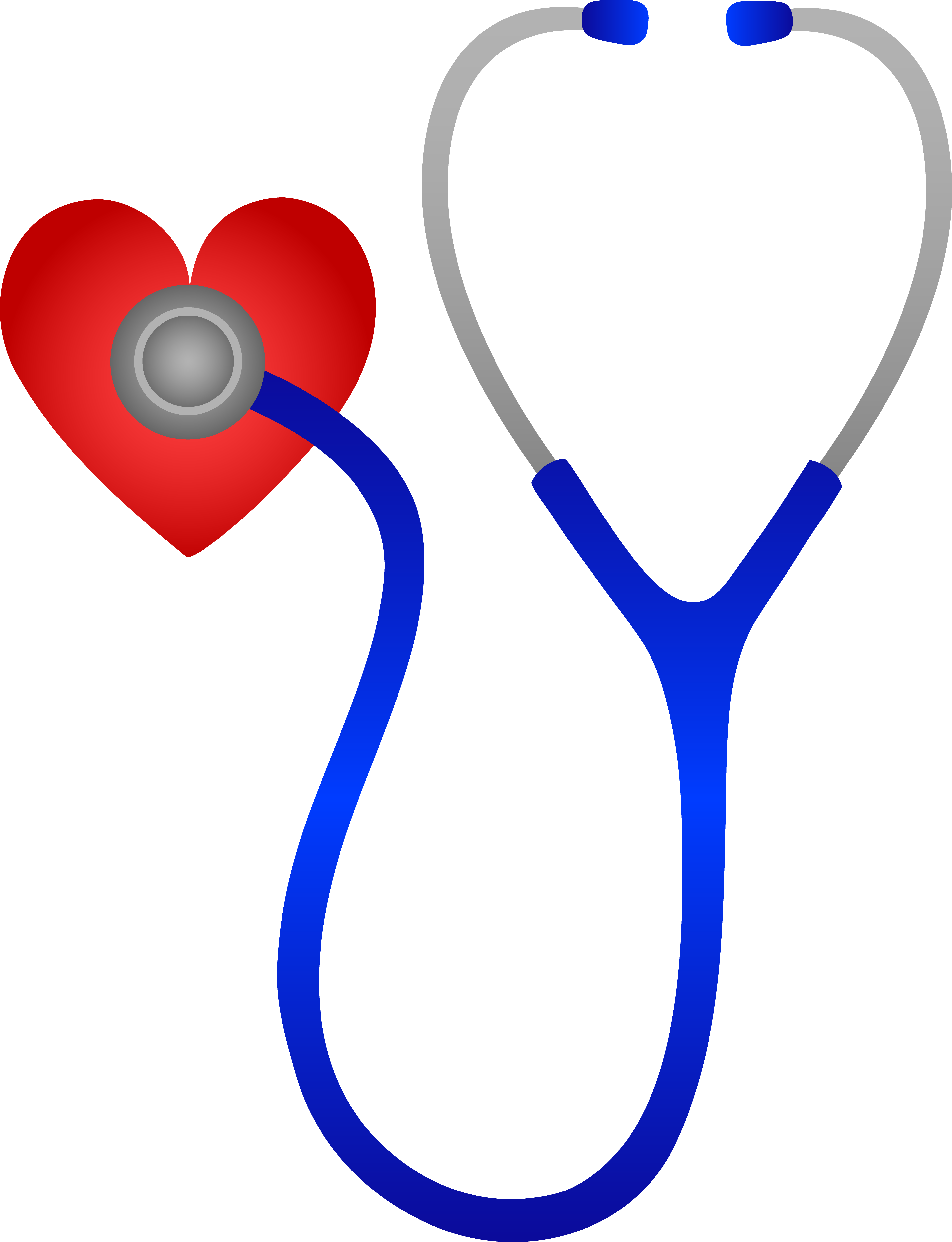 Watch clip stethoscope. Blue and red heart