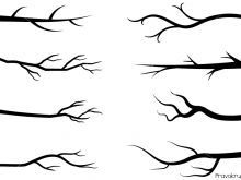 Tree black branches silhouettes. Stick clipart bare branch png transparent stock