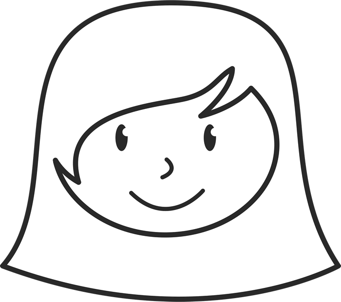 Stick figure drawing png. Girl face with short