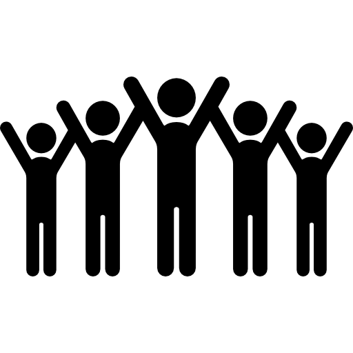 Stick figure friends png. Group people celebration raised