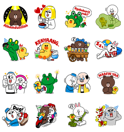 Sticker line png. Characters festive ramadhan days