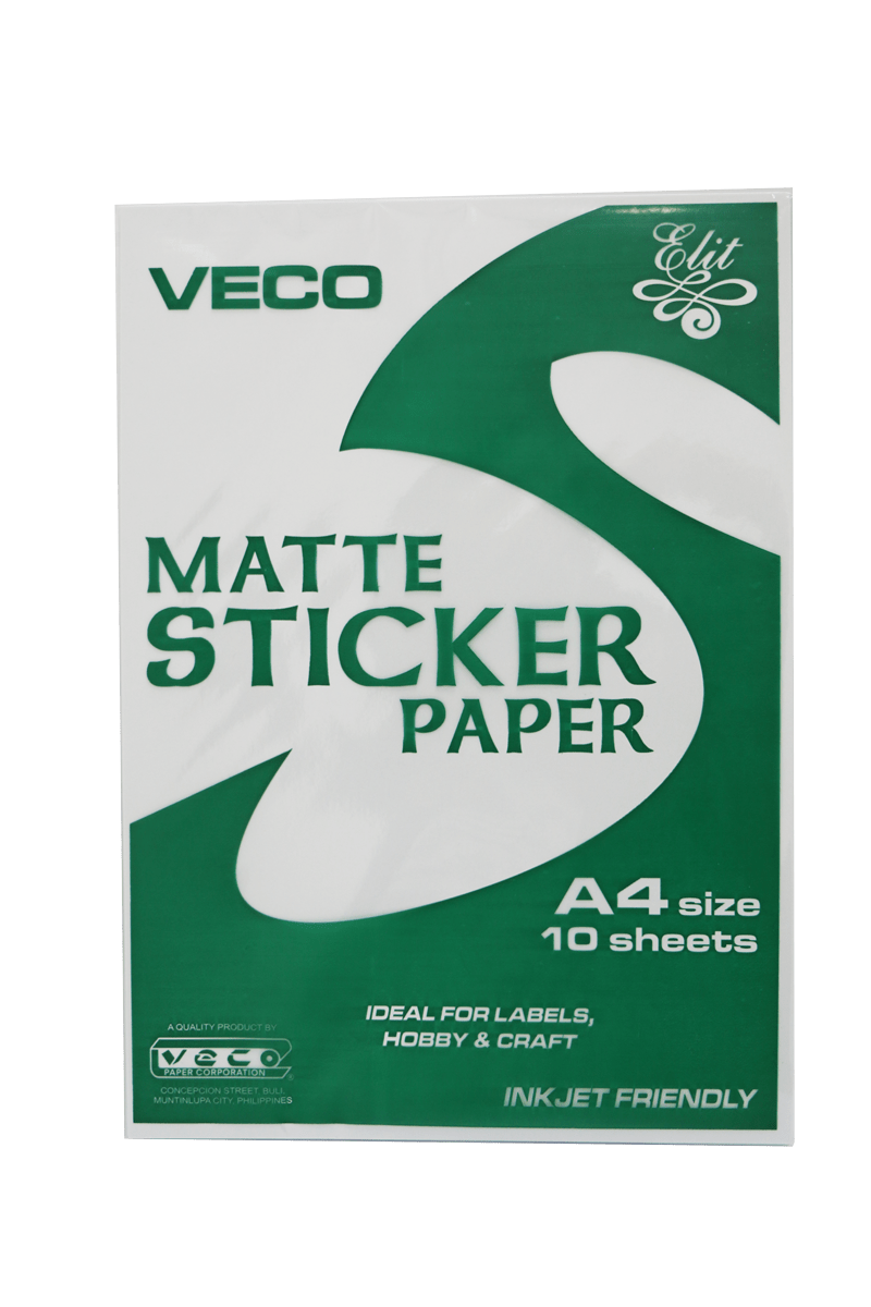 Sticker transparent matte. Paper veco a white