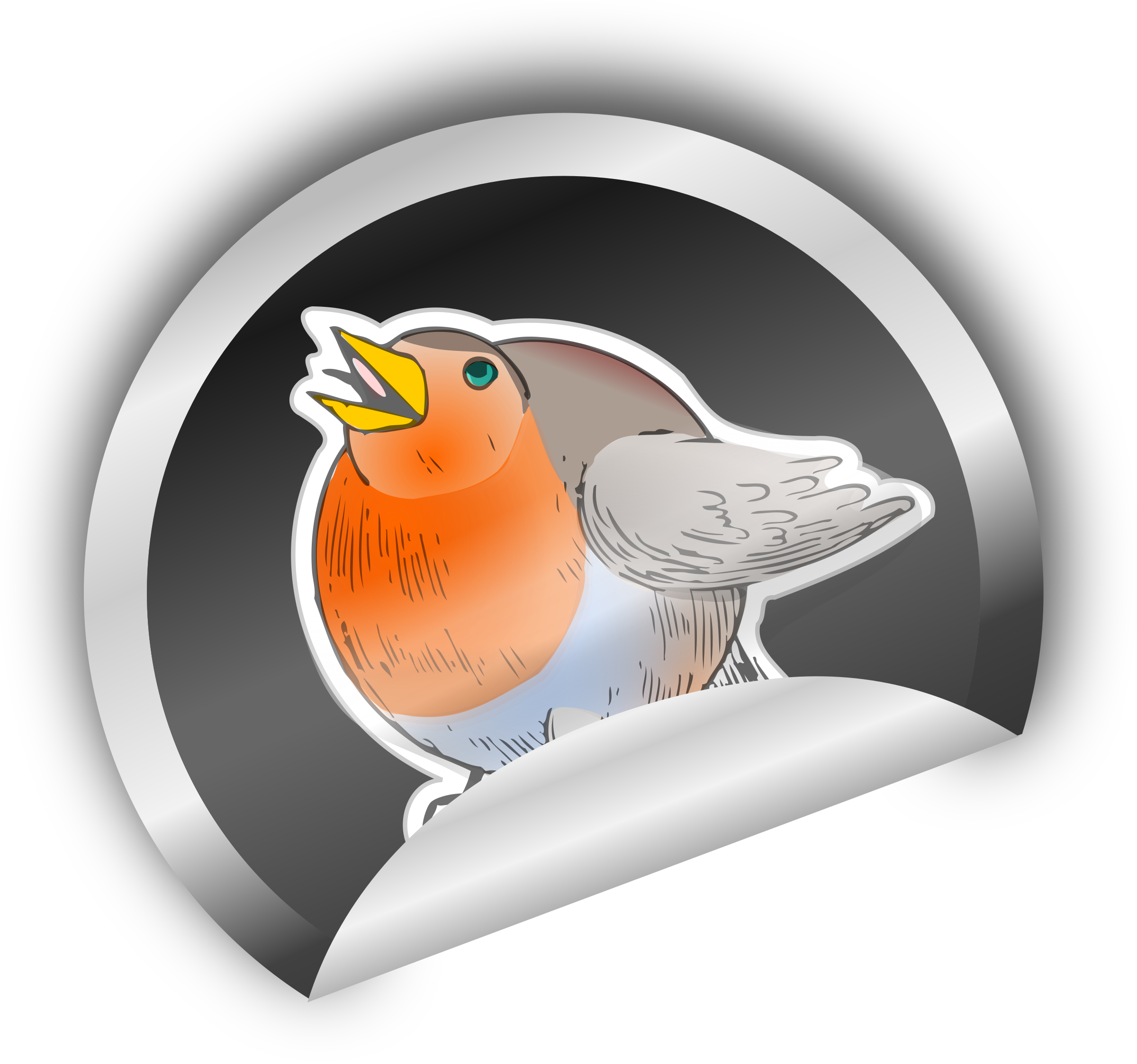 Sticker transparent round. Robin on icons png